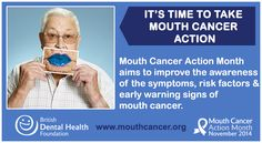 LIKE and SHARE: November is Mouth Cancer Action Month! The campaign aims to improve the awareness of the symptoms, risk factors and early warning signs of mouth cancer. It's time to take mouth cancer action! Learn more: http://www.mouthcancer.org/what-is-mouth-cancer-action-month/ #MCAM14 #Bemouthaware #Bluelipselfie #MouthCancer