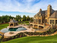 15 Luxury Homes with pool, millionaire lifestyle living in dream homes. Rich billionaire's dream Luxury Homes with Pool – Millionaire Lifestyle – Dream Home - Beautiful country side mansion Stone Mansion, Dream Mansion, Dream Home Design, My Dream Home, House Design, Architecture Design, Amazing Architecture, Luxury Homes Dream Houses, Luxury Kitchens