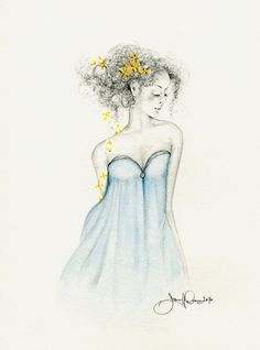 Original Fashion Illustration Pencil Drawing Illustration Drawing of a Girl One of a Kind Gift for Her Girls Room Blue Home Decor Fine Art