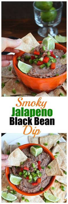 Vegan, Oil-free Smoky Jalapeno Black Bean Dip. Perfect party dip! So easy and delicious and basically fat-free.