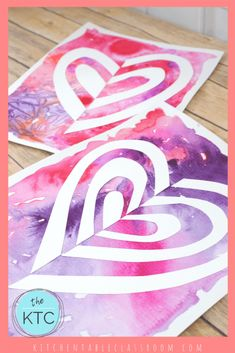 cut paper heart art with pink and purple watercolor backgroundYou can find Heart art and more on our website.cut paper heart art with pink and purple watercolor background Watercolor Heart, Watercolor Background, Art Background, Classe D'art, 3rd Grade Art, Valentines Art, School Art Projects, Art Lessons Elementary, Winter Art