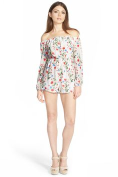 Missguided | Floral off the Shoulder Romper (Juniors) | Nordstrom Rack