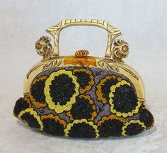 RARE AND WONDERFUL FRENCH ART DECO CELLULOID AND CARVED HORN BEADED FLAPPERS BAG. 1920's