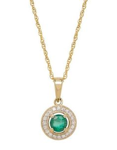 Lord & Taylor 14K Yellow Gold Emerald and Diamond Pendant Necklace Wom