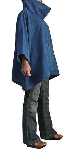 High Neck Poncho of hand-woven cotton Jomuton pullover BFS-122-03