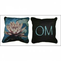 Om/Lotus Pillow   This pillow features a beautiful pink and white lotus on the front, and the mantra 'Om' on the back, giving you twice the options to uplift your mood and decor.  This is a hand-woven tapestry in a cotton blend.  Designed in mind for the healing arts. As a sacred art accent pillow.  From the Divine Art pillow collection. Artist and copyright Paul Heussenstamm.  Available on www.elevatedconsciousness.bigcartel.com  #om #lotus #pillow #decorate #homedecor