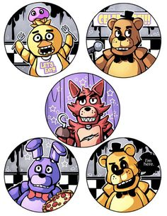 All the animatronics in Five nights at Freddys including the easter egg, Golden freddy! xx