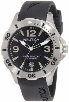 Nautica Men's N11548M BFD 101 Dive Style DNte Midsize  Watch NAUTICA. $83.93. Durable mineral crystal protects watch from scratches. 38 mm. Stainless steel case. Water resistant to 330 ft. Quartz movement