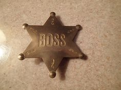 Vintage Brass Boss Star Pin By Lowell by TreasureTheMemories, $35.00