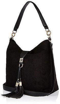 f63ea1c7fc River Island Womens Black tassel front slouchy handbag