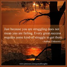 Just because you are struggling does not mean you are failing. Every great success requires some kind of struggle to get there.
