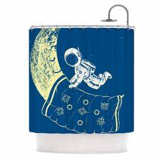 "Barmalisirtb ""You Need A Break"" Blue Moon Shower Curtain | KESS InHouse"
