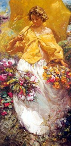 ⊰ Posing with Posies ⊱ paintings of women and flowers - Jose Royo