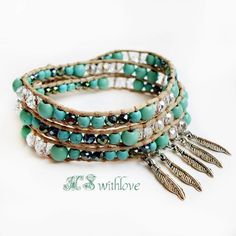 Bohemian Turquoise Wrap Bracelet Feather Bracelet by MSwithlove