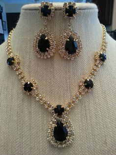 Fabulous Classic Jet Black and Clear Rhinestone and Gold Statement Necklace and Earring  Set...Wedding / Bridal / Bride / Bridesmaid Jewelry