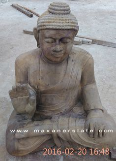 "http://maxanerslate.com/desert-mint-dhari-sandstone/ #stone_buddha_statue #buddha_statue_for_sale #buddha_statue_garden #sandstone_statues from Maxaner International #Buddha_statue has been engraved on sandstone by hand. The size of the statue is 915mm x 610mm x 418mm (according to buyer requirement), in this statue #lord_buddha is in deep meditation his eyes are closed, right hand is in ""#Abhay_Mudra"" and left hand is on left thigh. He is sitting in ""#Sukhasan"". This statue would be packed…"