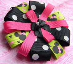 Minnie Mouse Hair Bow  Black Pink White and Lime by BowsofCaris