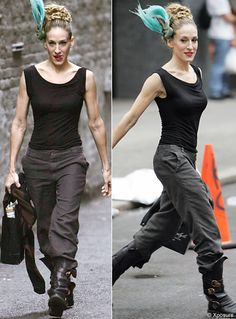 2073d4e1adb Black Sleeveless top with pants and black boots glammed up with red  lipstick and updo.