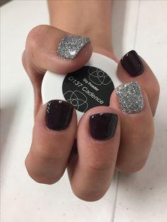 Revel nail dip powder: cadence and phoebe acrylic nail powder, black acrylic nails, Dip Nail Colors, Sns Nails Colors, Nail Manicure, Toe Nails, Dark Gel Nails, Nail Polish, Revel Nail Dip Powder, Acrylic Nail Powder, Acrylic Nails