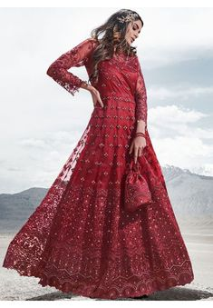 Wild Cherry Red Embroidered Net Designer Pant Kameez Party Wear Dresses, How To Wear, Gowns For Party, Party Dresses, Robes De Soiree