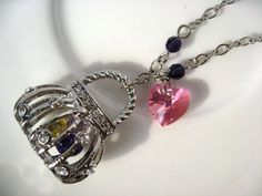 Sparkly Sawrovski Crystal Handbag Charm Necklace by VespertineCosmos
