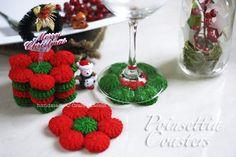 Free crochet pattern for Christmas drink coasters, Poinsettia Coasters, by using yo-yo puff. Bonus tip: Snow Flakes Christmas Tree Ornament. – Page 2 of 2