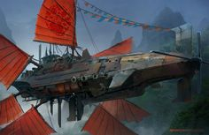 Spaceship art by MuYoung Kim Check out concept tanks! Keywords: chinese spaceships above earth like china country planet ship illu. Zeppelin, Art Manga, Art Anime, Concept Ships, Concept Art, Alien Concept, Art Adventure Time, Steampunk Ship, Art Harry Potter