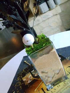 golf themed centerpiece idea...cute! Sand can be messy