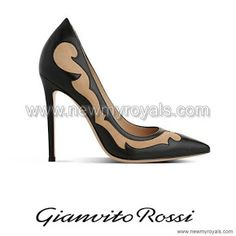Gianvito Rossi Black Mesh-Paneled Suede Pumps - Crown Princess Mary Style