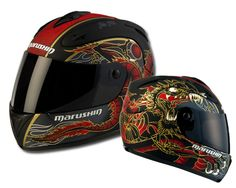 The Marushin Shivan Dragon Motorcycle Helmet has a lightweight high-impact resistant thermoplastic and fiberglass construction, an anti-scratch slash anti-fog visor, and a D-ring fastening clip. The helmet features fully removable hypoallergenic comfort padding, upper and lower ventilation system with rear exhaust ports. Price: roughly $129.