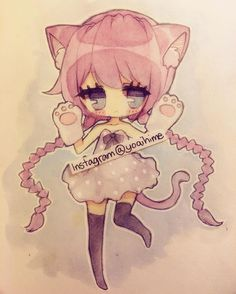 """""""Kitty toe beans (´・ω・`) sorry for the smudge on the left I'm kinda tired even though I slept all day. #pencil #sketch #sakurakoi #watercolor #watercolour…"""""""