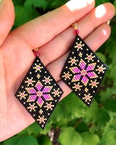 Miyuki Delica earrings, seed beads earrings, bead weaving, brick stitch pattern -You can find Weaving and more on our website. Beaded Earrings Native, Beaded Earrings Patterns, Jewelry Patterns, Bracelet Patterns, Beading Patterns, Seed Bead Jewelry, Bead Jewellery, Seed Bead Earrings, Beaded Jewelry