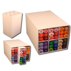 Cut your own marker storage. Easy to organize, take out what need and keep things tidy.