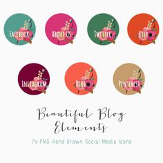 Social Media Icons / Blog Buttons by CreateTheCut.