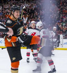 Brandon Montour of the Anaheim Ducks celebrates after his third-period goal during  the game against the New Jersey Devils at Honda Center on March 2018 b8dd72c1d