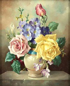 Гарольд Клейтон (1896-1979) - Цветочный натюрморт, холст, масло, 30 х 24 см.