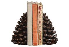 S/2 Pinecone Bookends on OneKingsLane.com I adore these pinecone book ends. Alas, they are in some other persons shopping cart.