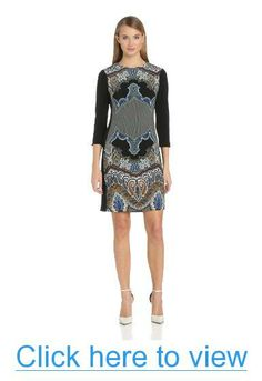 Donna Morgan Women's 3/4 Sleeve Printed Sheath Dress