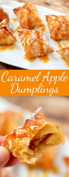 a crispy shell on the outside and warm sweet caramel apples on the inside, these Caramel Apple Dumplings make the perfect fall dessert! Apple Recipes, Fall Recipes, Gourmet Recipes, Snack Recipes, Dessert Recipes, Cooking Recipes, Yummy Recipes, Fall Desserts, Cookies