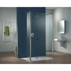 HSK Walk In Easy II Glass Screen with 2 Pivoting Deflector Panels 1000