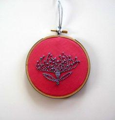"Pincushion Protea - hand embroiderd 4"" hoop art"