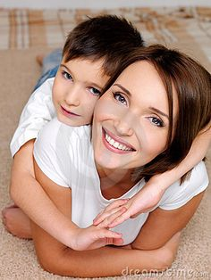 This picture shows a happy relationship between mother and son.