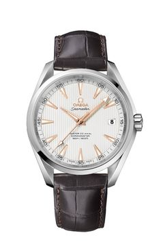 Omega Seamaster Aqua Terra automatic men's silver dial brown leather strap watch