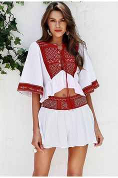 4ffbc50b757c Embroidered Two Piece Set Top and Shorts. Beach PlaysuitRomper DressHot  DressTwo Piece RompersRompers WomenJumpsuits ...