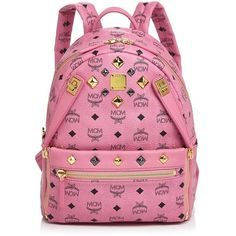Mcm Backpack - Dual Stark Small ($750) ❤ liked on Polyvore featuring bags, backpacks, pink crossbody bag, studded backpack, backpack crossbody, crossbody travel bag and crossbody bags