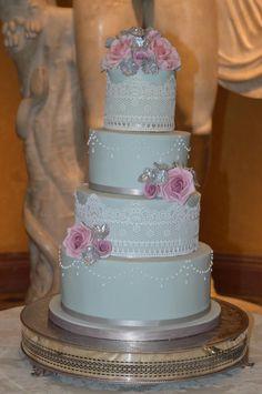Joyful Tiers Duck egg blue vintage wedding cake