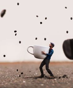 """""""♂ Dream Imagination Surrealism Surreal Photography By Joel Robison man with huge cup waiting for the coffee beads"""" LOVE IT! Surrealism is so cool and this image is so creative. I love coffee and this is really awesome image! Fantasy Photography, Surrealism Photography, Conceptual Photography, Creative Photography, Capture Photography, Coffee Photography, Professional Photography, Artistic Photography, White Photography"""