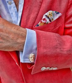 Cotton pocket square, bright colors, unusual cuff links. Great casual look!