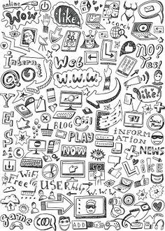 web doodles vector art illustration
