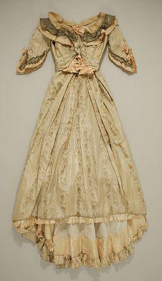 Green striped silk moiré dress by Jeanne Hallée, French, 1880s.